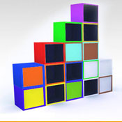 Shelf colored cubes